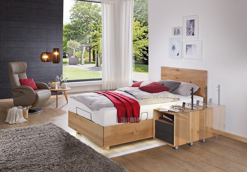 Pflegebett Lugano Einzelbett mit Nachttisch